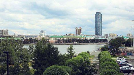 Екатеринбург городской пруд Высоцкий БЦ